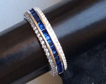 ART DECO BAND sterling sapphire look wedding blue zirconia