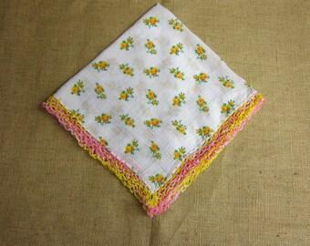 Vintage Hanky, Handkerchief, White Cotton with Yellow Roses, Drawn Thread Work, Variegated Crocheted Edge Trim, Handmade