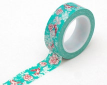 bird Japanese washi tape- Turquoise bird and floral- masking tape -Love My Tapes-LMT1685