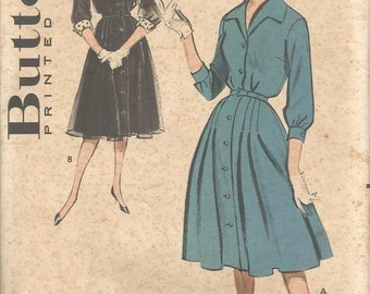 1950s Flared Dress V Neck Collar Three Quarter Sleeves with Cuffs Butterick 9229 FF Plus Size Bust 42 Women's Vintage Sewing Pattern