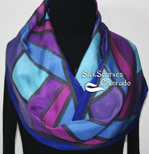 Blue Silk Scarf. Purple Hand Painted Scarf. Handmade Silk Shawl FIJI SUNSETS. Size 11x60. Birthday, Bridesmaid Gift. Gift-Wrapped.