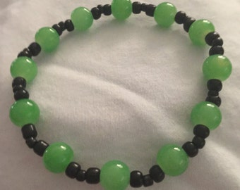 Green and Black stretch bracelet