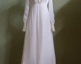 Vintage 60's Floor Length Cream Empire Waist Dress with Lace Embellishments Bust 36 Waist 28