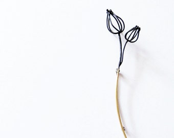 Two Wireframed Physalis brooch, abstracted minimalistic brooch