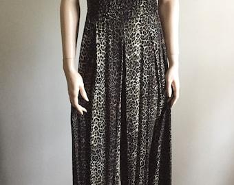 leopard jumpsuit smocked animal print  wide leg palazzo jumpsuit S/M size 8