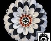 Mad Max: Fury Road War Boy White & Black Penny Blossom Rhinestone Flower Barrette