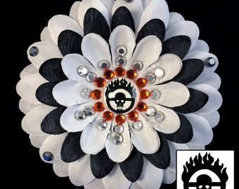 Mad Max: Fury Road War Boy White & Black Penny Blossom Rhinestone Flower Barrette
