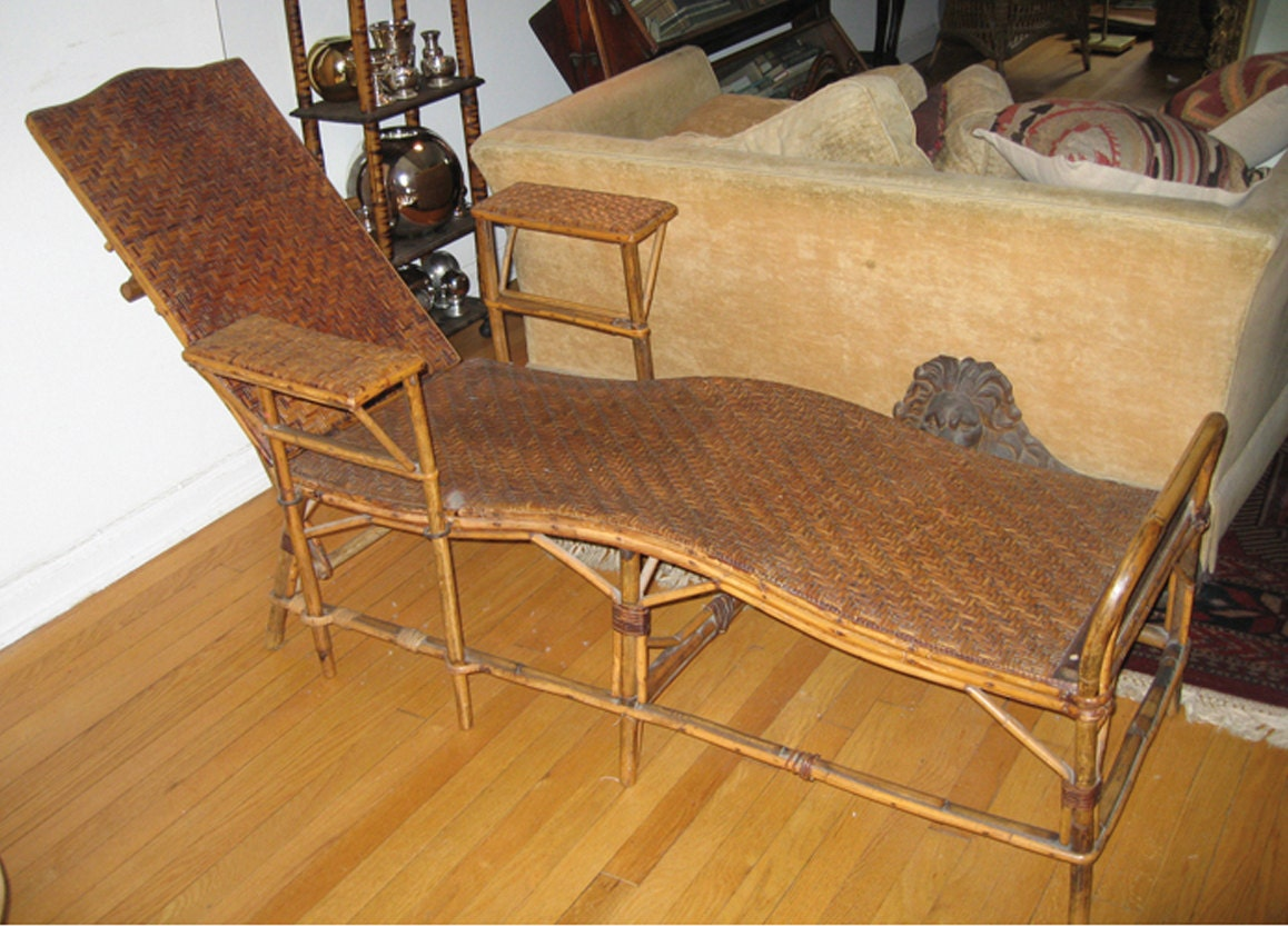 Antique french bamboo wicker chaise lounge local pick up nyc for Bamboo chaise lounge