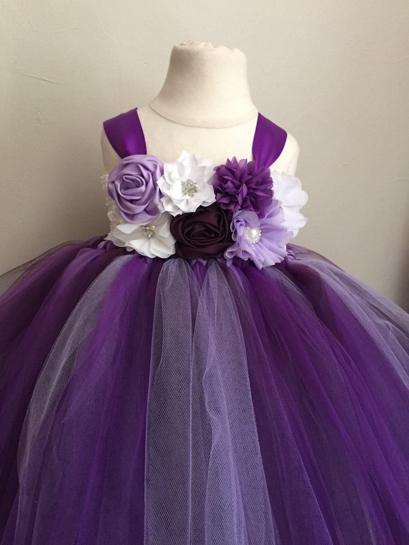 Purple lavender and plum tulle flower girl dress girls