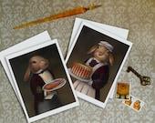 Rabit Cards - Rabbit Portrait Note Cards - Edwardian - Victorian - Downton Abbey - Cook - Butler - Animal Portrait