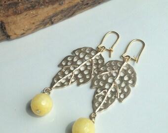 Leaf Earrings, Open Leaves, Yellow Agate, Dangle Earrings, Gold over Brass, Gold Plated Kidney Earwires