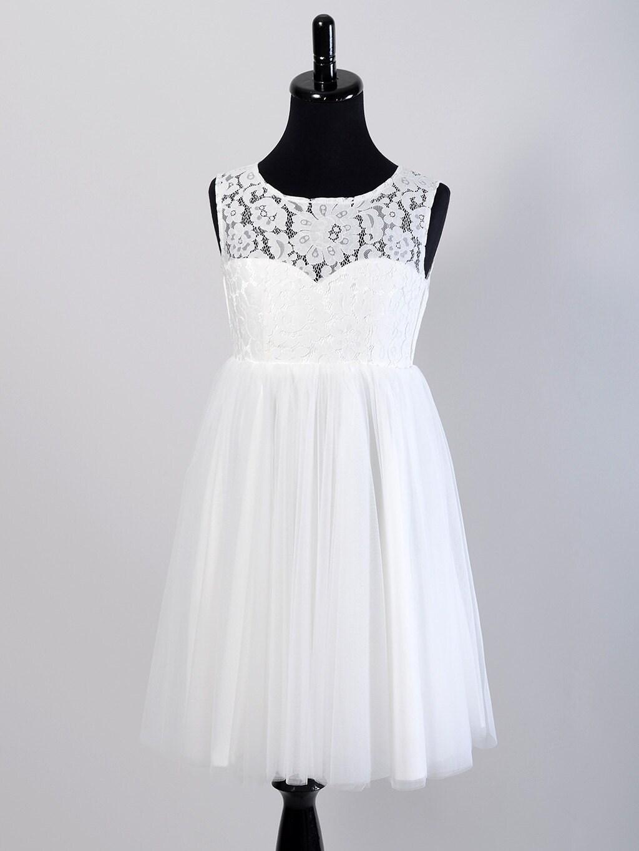 Flower girl dress lace bodice tulle skirt by ELDesignStudio