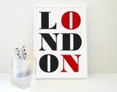 London Typography Print Travel Art Geography Wall Decor