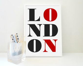London Typography Letters Print, Travel Art, Geography Poster, European City, Holiday Destination, UK, United Kingdom, City Art, Wall Decor