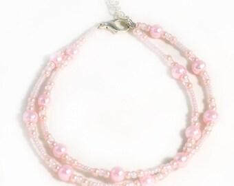 Light Pink Anklet - Blush - Pink Anklet - 10 inches