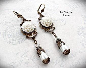 Pearl Victorian Earrings, Pearl Cabochon Flower Earrings, Victorian Jewelry