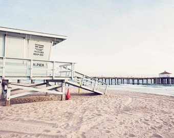 """Manhattan Beach California / Lifeguard Tower Print / California Beach / Los Angeles / Manhattan Pier / Beach House Art / """"Manhattan Summer"""""""