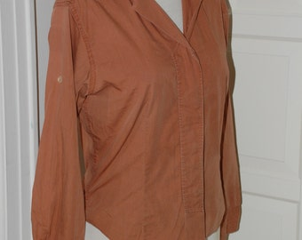 50s Blouse, Shirt, Cocoa Brown, Cotton, Roll Sleeves, Bobbie James, Size M