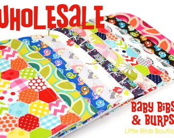 WHOLESALE 16 Bib and Burp Cloth Sets- lot available to resellers with tax id only