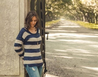 KNITTING PATTERN PDF file for women's pullover sweater-4 weights
