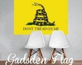Gadsden Flag Don't Tread on Me Flag Wall Decal Printed Fabric Peel and Stick Wall Cling - Patriotic Wall Art WAL-2244