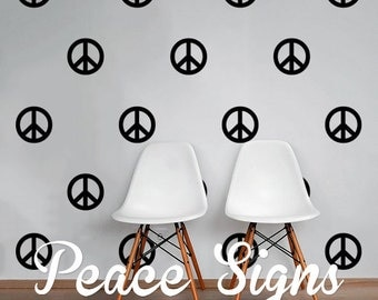 Peace Signs Wall Decal Pack, Vinyl Wall Sticker Decal Art Pattern WAL-2223