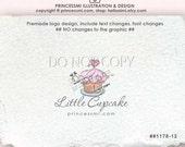 Sweet Cupcake logo, Bakery logo design Premade Logo Design, Custom logo design, scroll sketch line art by princessmi 1178-12