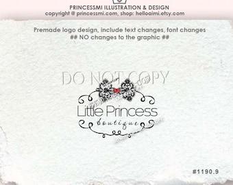 boutique logo, Custom Premade Logo Design,  sketch swirl logo scroll logo lace bow logo business photography watermark by princessmi 1190-9