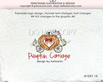 1257-16 hand drawn Pumpkin Carriage logo, princess carriage logo, business logo, pumpkin carriage illustration, logo design
