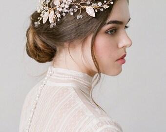 Demi Gold Bridal Leaf Hair Comb Wedding Headpiece
