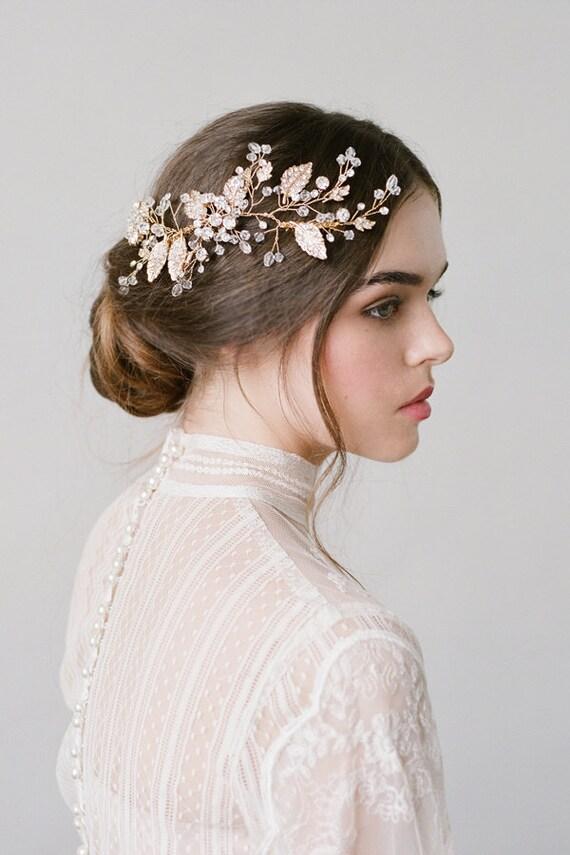 wedding hair piecegold bridal combbridal headpiecegold. Black Bedroom Furniture Sets. Home Design Ideas
