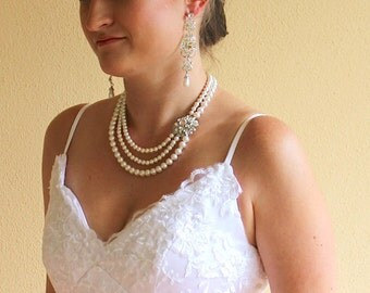Bridal Necklace, Multi Strand Pearl Necklace, Pearl Wedding Necklace, Ivory Pearl Wedding Jewelry, Bridesmaid Jewelry AIMEE