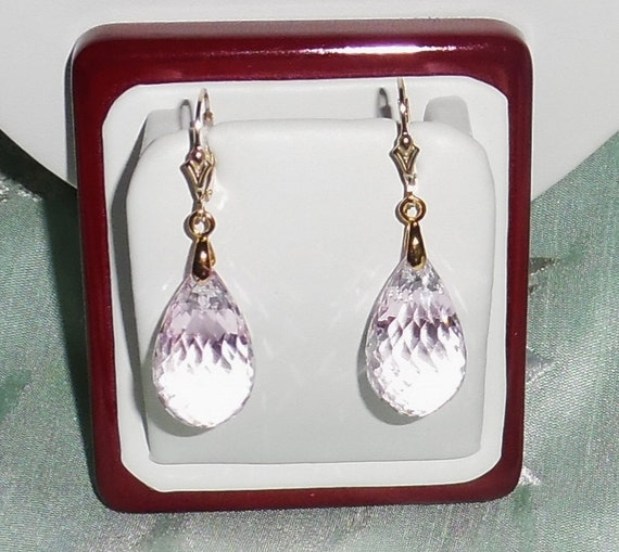 58 cts Natural Briolette cut Soft Pink Topaz gemstones, 14kt yellow gold leverback Pierced Earrings