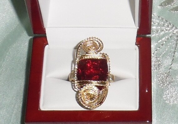23 ct Natural Long Cushion Red Topaz gemstone, 18kt gold, sterling Ring Size 9