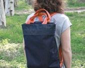 Vegan blue backpack, laptop backpack bag, fabric backpack, shopping bag , every day bag, fabric blue jeans bag, canvas backpack, canvas bag