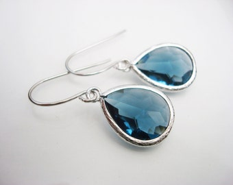 Blue Teardrop Earrings, Blue Drop Earrings, Something Blue Earrings, Sapphire Earrings, Blue Earrings, Bridal Earrings, Bridesmaid Earrings