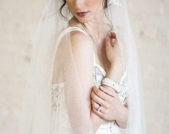 Bridal Veil, Juliet Cap Veil, Lace Wedding Veil, Floor length Veil, Double Layer Veil,  Bridal Veil, Ivory Tulle Veil, Ivory Lace Veil