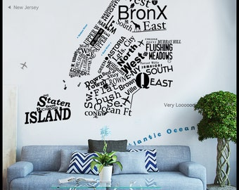 NYC - WALL DECAL : On sale 5 Borough Map in words - icons - letters New York. Free one way sign decal