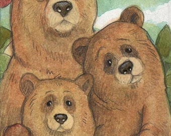 The Three Bears....Original ACEO