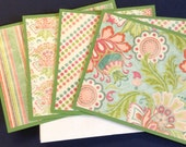 Set of 4 Note Cards, Floral Cards, Green Cards, Green Note Card Set, Floral Note Card Set, Green Orange Pink Blue