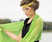 Linen Scarf Lace Shawl Lime Green Wrap Bridesmaids Stole Boho Shawl Bright Chartreuse Scarf Sheer Knitted Scarf
