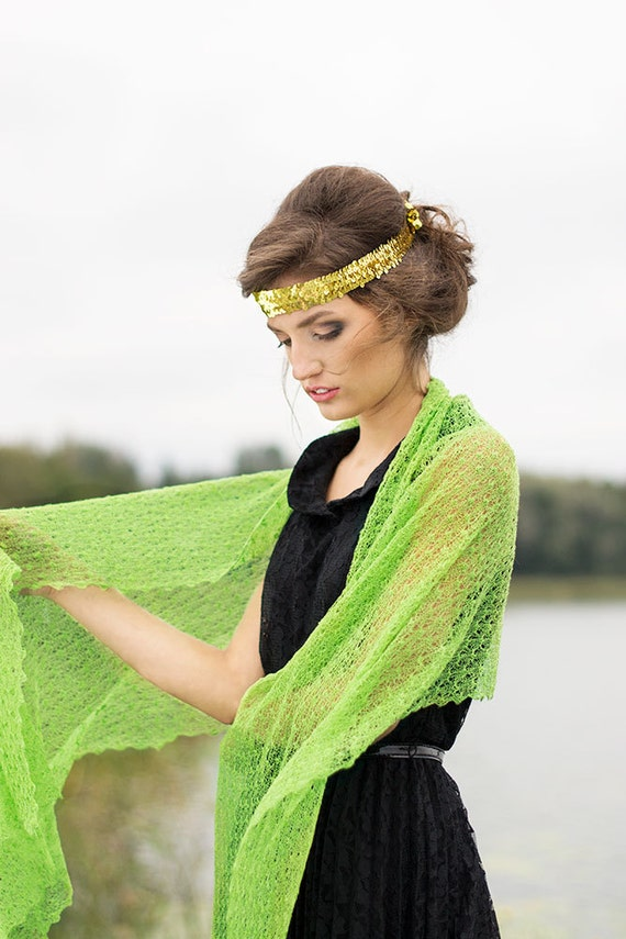 Linen Scarf Lace Shawl Lime Green Wrap Bridesmaid Stole Boho Shawl Bright Chartreuse Scarf Sheer Knitted Scarf