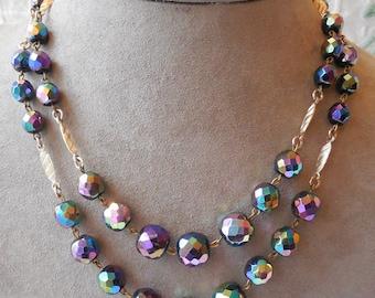 German Carnival Glass Bead Choker Necklace