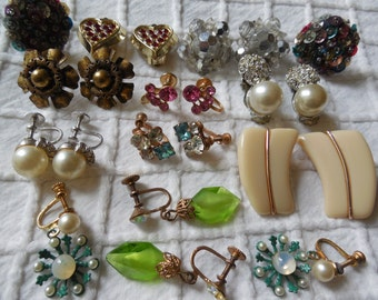 11 pairs Clip & Screw Back Retro Earrings Mixed Lot for Crafting