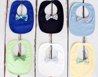 Baby Boy Bow Tie Bib. Baby's 1st Christmas, 1st Birthday Gift, Coming Home Outfit Accessory, Teething bib, Drool Bib, New Baby Gift Blue