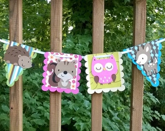 READY TO SHiP Enchanted Forest Banner Woodland Wildlife Banner Forest Birthday Banner Forest baby Shower It's a Girl Shower Girl Birthday