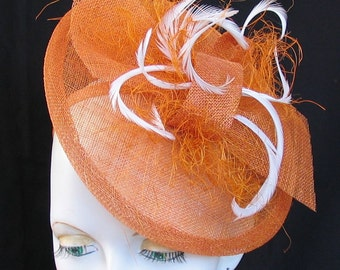 Topaz orange sinamay and feather saucer style tilt fascinator hat - ideal for weddings or races