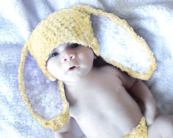 6 to 12m Baby Bunny Hat, Baby Bunny Ears, Yellow Baby Hat, Crochet Bunny Beanie Flopsy, Yellow White Bunny Rabbit Hat Baby Photo Prop
