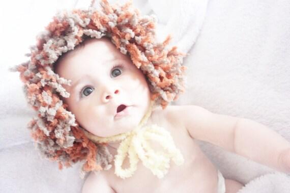 SALE 12 to 24m Baby Lion Hat Yellow Orange Brown Baby Lion Hat Crochet Lion Beanie Unisex Baby Girl Boy Lion Bonnet Kid Photo Prop Halloween
