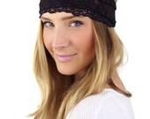 BLACK LACE HEADBAND, wide lace stretch headband